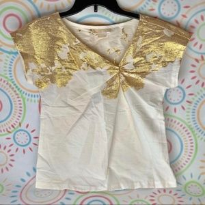 Michael Kors Lightweight Shirt Gold Shimmer Sz XS